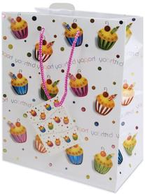 Cindus Foil Gift Bags, 10-1/2 by 5-3/8 by 13-Inch, Birthday