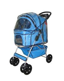 Classic Blue 4 Wheel Pet Stroller with Free Rain Cover by