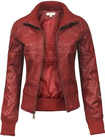 BEKDO Womens Classic Mock Collar Fitted Biker Zip Up Faux