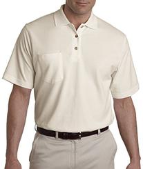 UltraClub Mens Classic Piqué Polo with Pocket -Stone,Medium