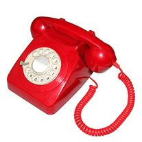 LNC lassic Style Rotary Dial Single Line Red Desk Telephone