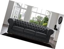 Classic Scroll Arm Tufted Button Bonded Leather Chesterfield