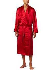 Men's Classic Silk Robe, Red, Medium