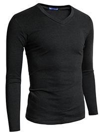 Doublju Mens Basic V-Neck Long Sleeve T-Shirt Charcoal XXXX-