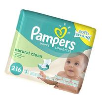 Pampers Baby Wipes Natural Clean  3X Refill, 216 Count