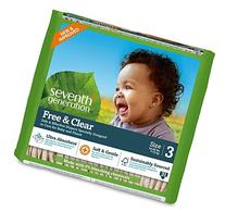 Seventh Generation Free & Clear, Unbleached Diapers, Size 3