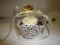 25 PCS Clear Plastic Tuck Top PVC Cupcake Wedding Party