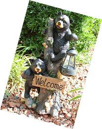 Climbing Black Bear Cubs Statue Figurine Solar LED Lantern