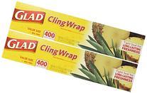 Glad Cling Plastic Wrap, 400-sq ft Roll 2PK