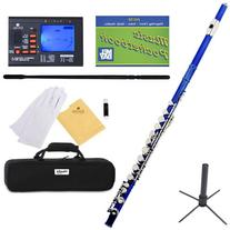 Mendini Closed Hole C Blue Flute with Tuner, Stand, 1 Year
