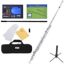 Mendini Closed Hole C Nickel Silver Flute with Tuner, Stand