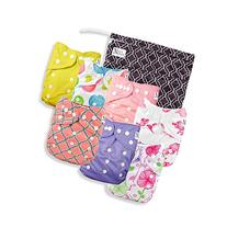 Pink Blossom Baby Cloth Pocket Diapers 7 Pack, 7 Bamboo