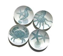 222 Fifth Coastal Life Blue Round Appetizer/Dessert Plates