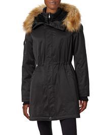 1 Madison The Coat Edit Twill Parka with Faux Sherpa Bib-