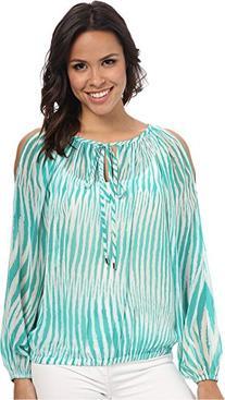 Women's Glamorous Cold Shoulder Blouse, Size Medium - Blue