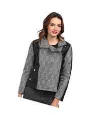 KC Collections - Lurex Herringbone Faux Leather Trim Jacket