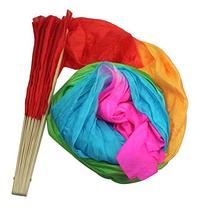 UZZO™1.8m Colorful Silk Bamboo Hand Folding Dance Fan/