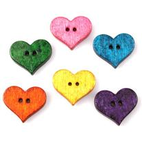 120pcs Colorful Heart Shape Wooden Charms Buttons for DIY
