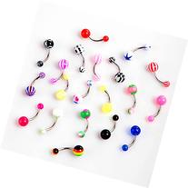 TOMTOP 20pcs Colorful Stainless Steel Ball Barbell Curved