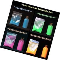 4 Color Combo Pack of Glow in the Dark Powder . 15 Grams