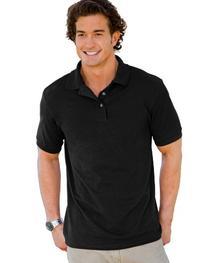 Hanes Men's 7 oz. ComfortSoft� Cotton Piqu� Polo - BLACK