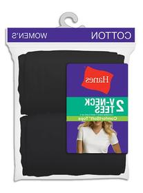 Womens Hanes 2 Pack ComfortSoft V-Neck Tee Shirts - 51W2BK