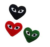 3 PCS COMME DES GARCONS CDG PLAY LOGO HEART PIN RED+GREEN+