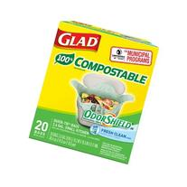 Glad Compostable OdorShield Quick-Tie Small Trash Bags,