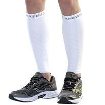 Zensah  Compression Leg Sleeves, White, Large/X-Large