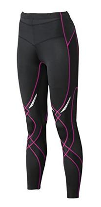 CW-X Conditioning Wear Women's PerformX Tights, Black/Grey/Lavender Stitch, Small