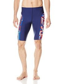 Speedo Men's Conquers All Jammer Swimsuit, Navy/Red/White,