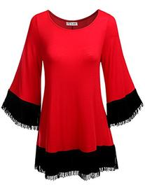 SJSP Contemporary bell Sleeve Solid Color Tunic Top RED,S