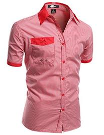 Color Contrast Collar Striped Short Sleeve Shirts Red Size M