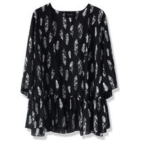 Chicwish Contrast Feathers Open Cardigan in Black