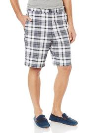 Haggar Men's Cool 18 Exploded Plaid Plain Front Short,White,