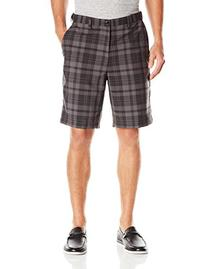 Haggar Men's Cool 18 Exploded Plaid Plain Front Short,Gray,