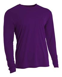 A4 Mens Cooling Performance Long Sleeve Shirts Large Purple
