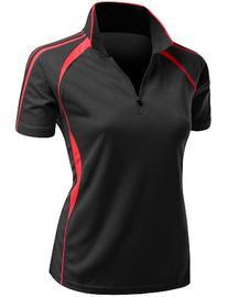 Womens Coolmax Sporty Fill Zipup Short sleeve Polo T-Shirt