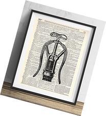 Vintage Corkscrew Illustration Upcycled Dictionary Art Print