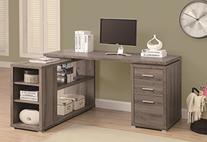 Corner L-Shaped 3 Drawer Writing Desk, Dark Taupe