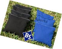 Cornhole Bags Set - 4 Black & 4 Royal Blue