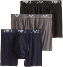 Emporio Armani Men's 3-Pack Cotton Boxer Briefs, Grey/Navy/