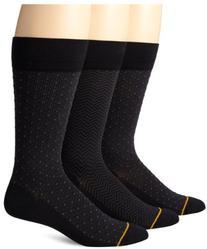 Gold Toe Men's 3-Pack Cotton Dress Diamond Dot Over-The-Calf