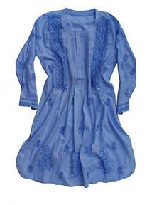 Ayurvastram Pure Cotton Hand Emb Tunic: Light Blue: Size 18W