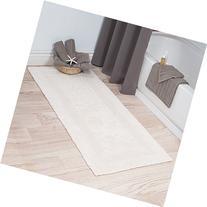 Lavish Home 100% Cotton Reversible Long Bath Rug - Ivory -
