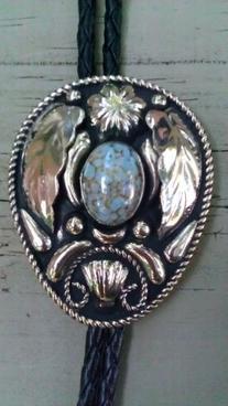 Cowboy Western Bolo Tie #214 -German Silver & Turquoise
