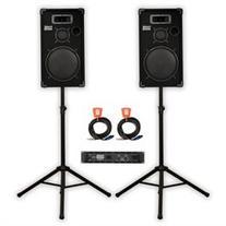 Acoustic Audio CR12 PA Karaoke DJ 12 Speakers, Amp, Stands