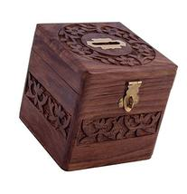 Crafts'man  Beautiful Indian Handmade Wooden Money Bank in