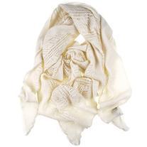 Black Cream Italian Lace Knit Triangular Cashmere Scarf