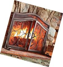 Plow & Hearth Crest Large Fireplace Screen with Doors, Solid
